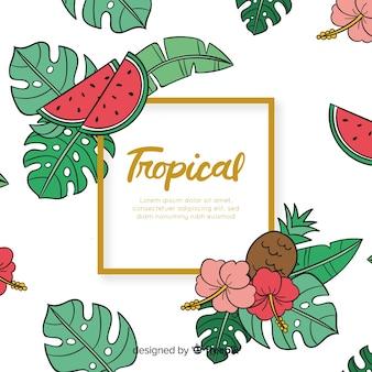 Fondo tropicale disegnato a mano delle foglie e delle frutta