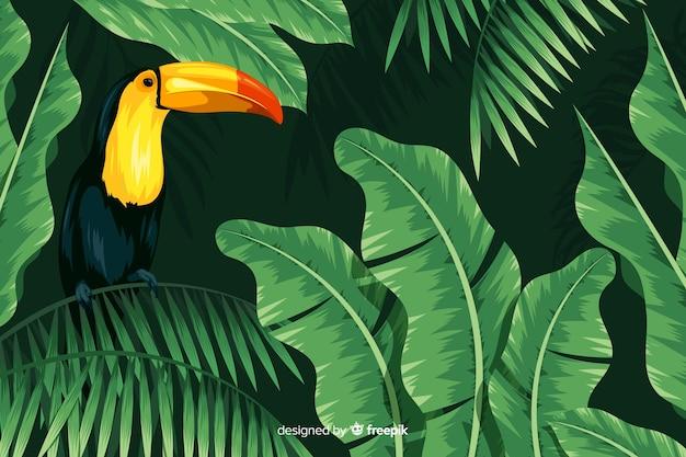 Fondo tropicale realistico delle foglie e degli uccelli