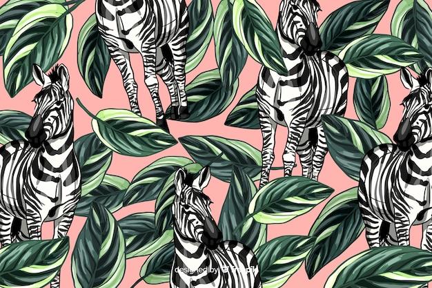 Fondo tropicale realistico disegnato a mano delle piante e degli animali