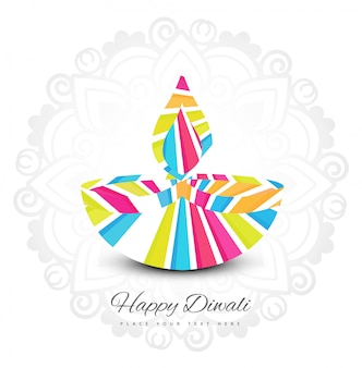 Fondo variopinto della carta di festival felice della lampada a olio di diya di diwali