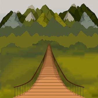 Fondo variopinto fuori del ponte sospeso e dello scenary della foresta