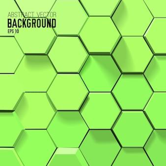 Fondo verde astratto con esagoni geometrici