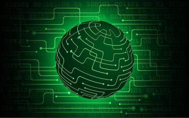 Fondo verde di concetto di tecnologia del futuro del circuito cyber del mondo