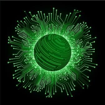 Fondo verde di tecnologia futura del circuito cyber del mondo