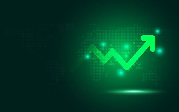 Fondo verde futuristico di tecnologia dell'estratto del grafico della freccia di aumento