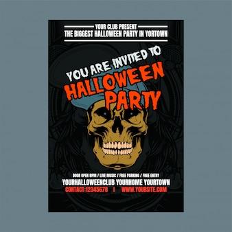 Fondo verticale di notte della festa di halloween con il cranio