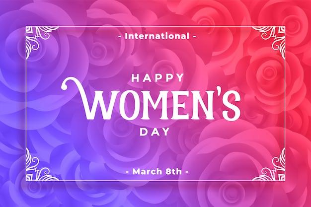 Fondo vibrante di stile del fiore del giorno delle donne felici