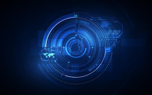 Fondo virtuale del sistema futuristico futuro dello schermo dell'interfaccia utente astratta del hi gui