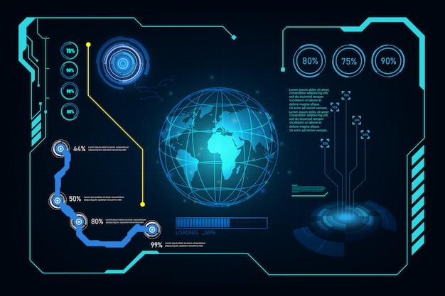 Fondo virtuale di progettazione del sistema futuristico futuro futuristico dello schermo di ui di hud di ui