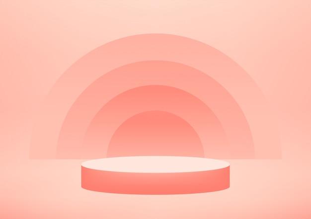 Fondo vuoto di rosa dello studio del podio per l'esposizione del prodotto con lo spazio della copia.