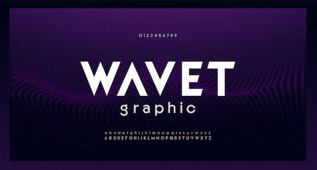 Font alfabeto digitale moderno astratto. tecnologia tipografica musica dance elettronica futura carattere creativo