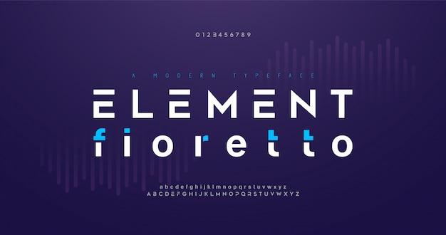 Font alfabeto digitale moderno astratto. tipografia tecnologica minimal, moda, sport, urban, carattere creativo futuro e numero.