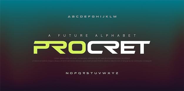 Font alfabeto digitale moderno astratto.