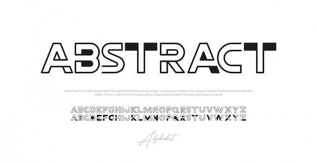 Font alfabeto moderno astratto. carattere tipografico urbano tipografico maiuscolo