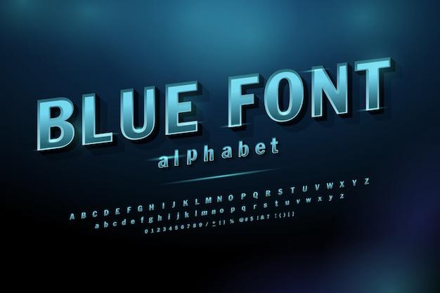 Font alfabeto moderno bagliore futuro blu sport.