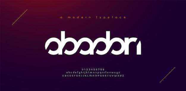 Font alfabeto moderno sport astratto. tecnologia tipografica sport elettronico gioco digitale musica carattere creativo futuro.