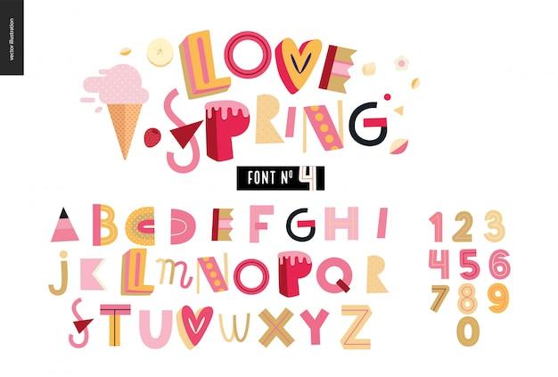 Font alfabeto piatto estivo