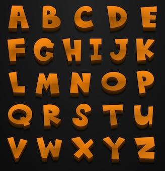 Font design per alfabeti inglesi in colore marrone