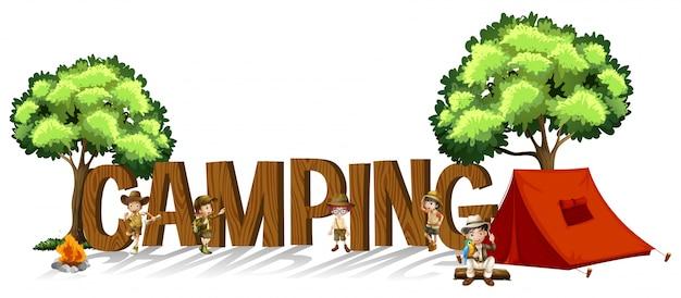 Font design per la parola campeggio con bambini e tenda