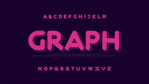 Font moderno carattere arrotondato alfabeto colore fontsn