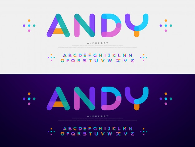 Font moderno carattere arrotondato caratteri alfabeto colore
