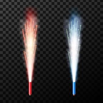 Fontana di fuoco d'artificio di scintille saluto