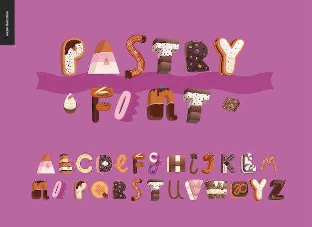 Fonte del dessert nelle lettere illustrate moderne
