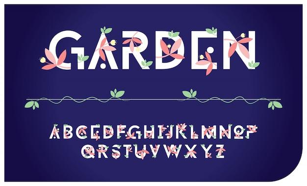 Fonte delle lettere di alfabeto del giardino della pianta