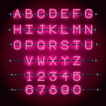 Fonte di alfabeto di luci al neon