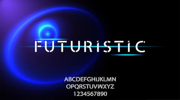Fonte di alfabeto di scienza astratta di tecnologia. tipografia spaziale digitale