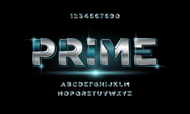 Fonte di alfabeto futuristico moderno astratto. caratteri tipografici in stile urbano per tecnologia, digitale