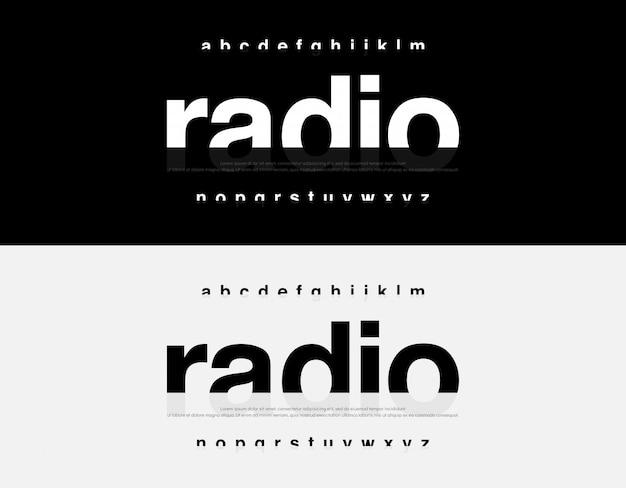 Fonte di alfabeto moderno astratto. tipografia urbana