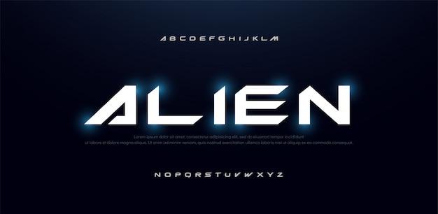 Fonte di alfabeto moderno futuro di scienza di tecnologia
