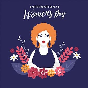 Fonte di giornata internazionale della donna con bella ragazza e decorazioni floreali su sfondo viola.