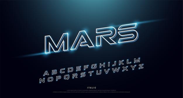 Fonte e alfabeto al neon di tecnologia astratta. effetto techno