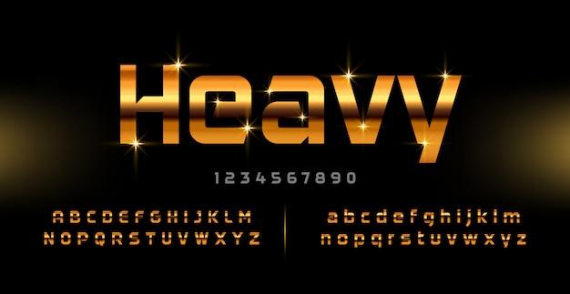 Fonte e numero di alfabeto moderno dell'oro. caratteri tipografici dorati maiuscoli di tecnologia