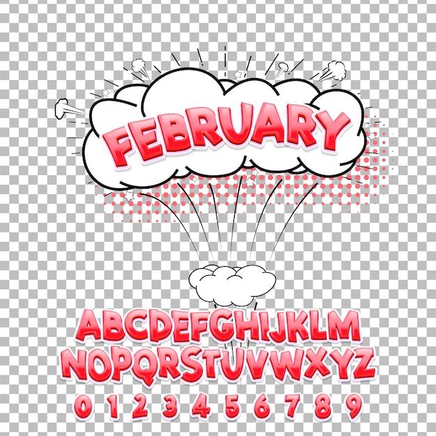 Fonte tipografica dell'iscrizione comica febbraio 3d. alfabeto vettoriale