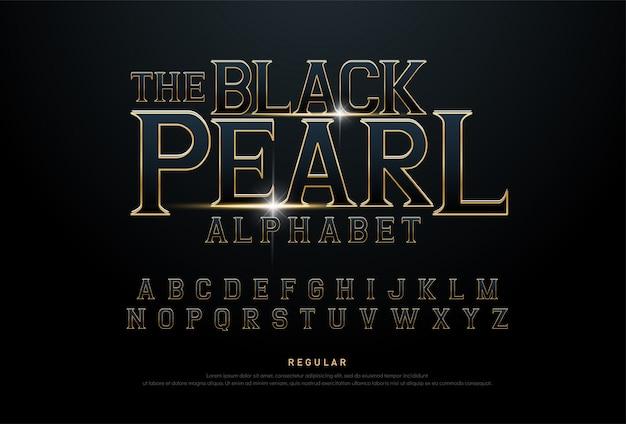 Fonte tipografica di concetto di film metallico dorato di alfabeto