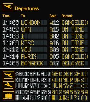 Fonte tipografica gialla dell'aeroporto del bordo digitale realistico del led