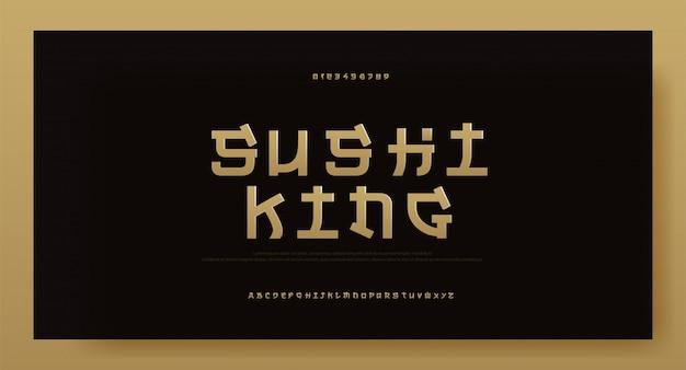Fonte tipografica moderna di alfabeto dell'oro dell'asia. tipografia giappone
