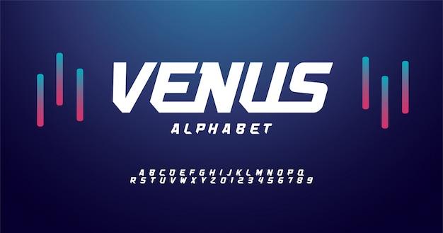 Fonti di alfabeto moderno di sport. carattere tipografico