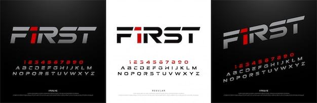 Fonti di alfabeto moderno di sport. tipografia della tecnologia