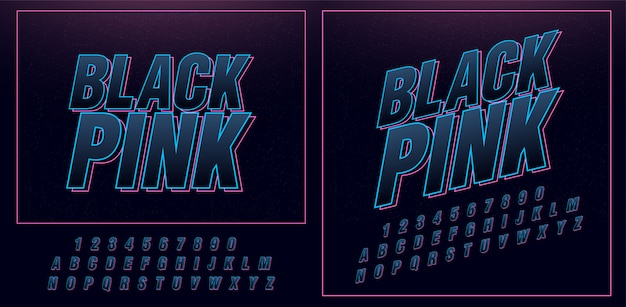 Fonti di alfabeto moderno neon di sport futuro