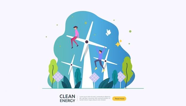 Fonti di energia elettrica verde rinnovabile e concetto ambientale pulito