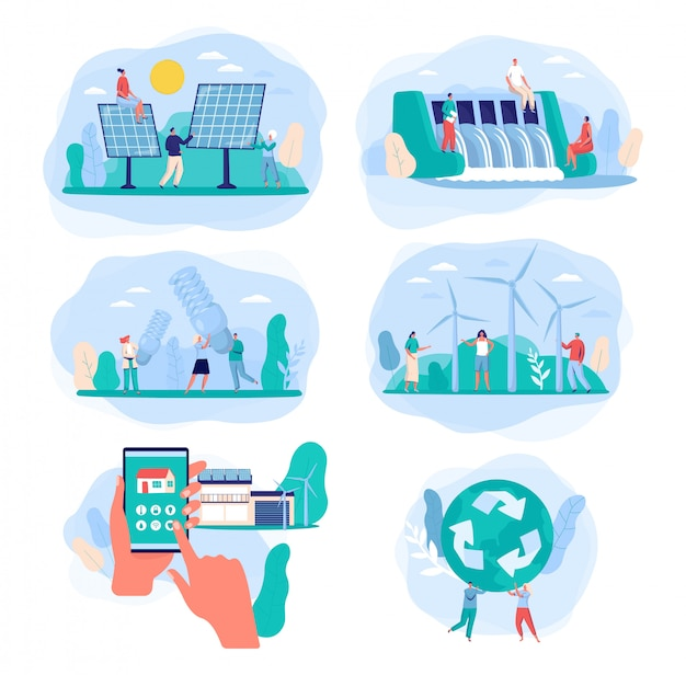 Fonti di energia verde, illustrazione di energia elettrica