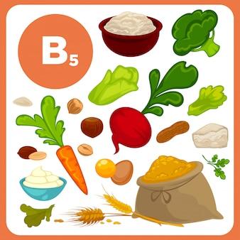 Fonti di vitamina b5 alimentare.