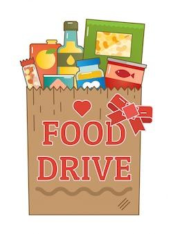 Food drive carità movimento logo illustrazione