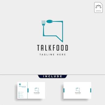 Food message talk chat linea contorno semplice logo piatto