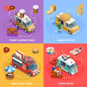 Food truck 4 isometric icons square