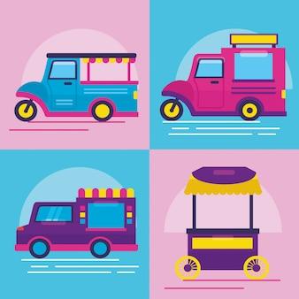 Food truck in stile piatto